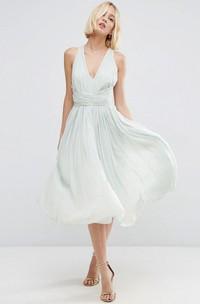 Knee-Length V-Neck Sleeveless Chiffon Bridesmaid Dress With Ruching And Straps