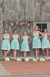 Strapless short A-line Knee-length Bridesmaid Dress