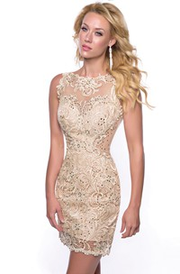 Bateau Neck Sleeveless Sheath Lace Homecoming Dress With Sequins
