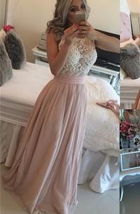Sleeveless Long Chiffon Evening Scoop-Neck Glamorous Pearls Dress