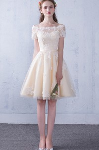 Square V-neck Queen Anne Tulle Knee-length Evening Formal Dress With Beading