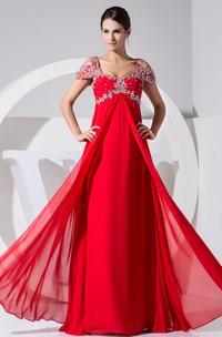 Sleeveless Empire Chiffon Long Dress With Colorful Beading
