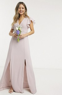 Ethereal V-neck Cap Sleeve Front Split Chiffon Bridesmaid Dress With Ruching Top