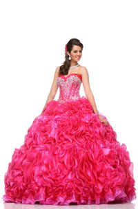 Organza Removable Cap Crystal-Bodice Cascading Ruffled Strapless Sweetheart Ball Gown