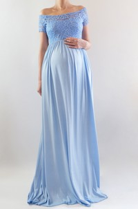 Off-the-shoulder Short Sleeve Lace Pleated Ruched Ruffled Maternity Dress