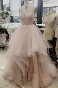 V-neck Tulle Sleeveless Floor-length Pleats Ruffles Dress