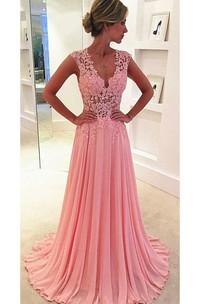 Lace Long Chiffon Pink Beautiful Prom Dress