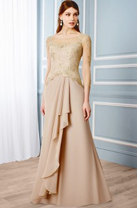 Scoop-neck Illusion 3-4-sleeve Sheath Mother of the Bride Dress With Draping