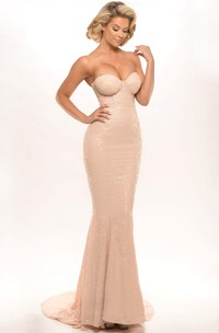 Sweetheart Sequined Trumpet Gown With Sweep Train