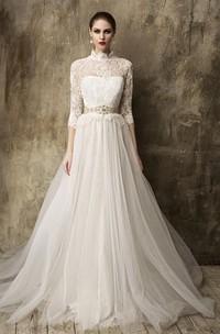 Tulle Detachable Tulle Skirt 3-4-Sleeve High-Neckline Gown