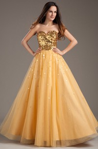 Sweetheart Sequined Top Pleated Strapless A-Line Ball Gown