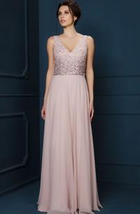 V-neck Sleeveless Chiffon Floor-length Dress With Beading