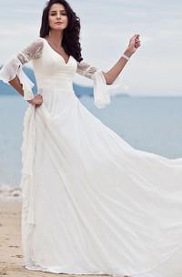 Bohemian Half Sleeve A Line V-neck Chiffon Lace Floor-length Wedding Dress