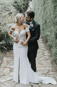Sexy Off-the-shoulder Sweetheart Split Front Satin Wedding Dress With Lace And Button Details