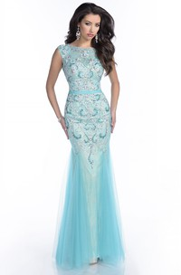 Sleeveless Tulle Mermaid Gown With Keyhole Back And Pearls