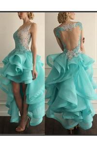 Sleeveless Appliqued Ruffled Hi-Lo Sassy Formal Dress