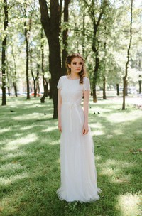 Tulle Lace Bodice Short-Sleeve Jewel-Neckline Wedding Gown