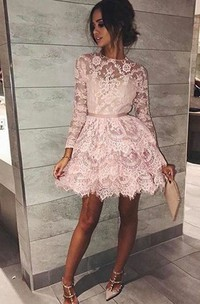Long Sleeve A-line Short Mini High Neck Sash Ribbon Tiers Lace Homecoming Dress