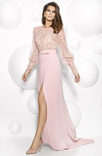 Scoop-neck Long Sleeve Jersey Split Front Dress With Beading