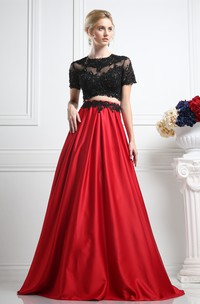 2-Piece Illusion Satin Appliqued A-Line Full-Length Short Jewel-Neck Mini-Sleeve Dress