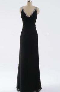 Sheath Maxi V-neck Backless Dress With Beading