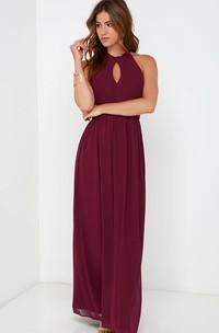Long A-Line Sleeveless Chiffon Halter Dress