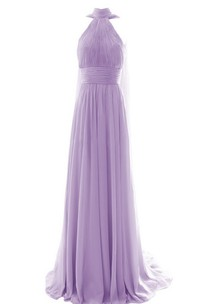 High Neck Sleeveless Chiffon Floor-length Bridesmaid Dress With Sweep Train