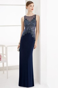 Sheath Scoop-neck Sleeveless Jersey Dress With Beading And Illusion