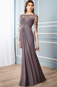 Bateau-Neckline Formal Floor-Length Column Chiffon Dress