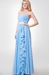 Crisscross Sweetheart A-line Chiffon Long Dress With Satin Sash