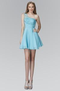 A-Line Mini One-Shoulder Sleeveless Chiffon Dress With Beading And Pleats