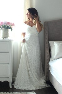 A-Line Wrapped Top Wedding Floor-Length Long Lace Dress