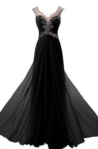 Jeweled Illusion Inspire Long Cap-Sleeved Gown