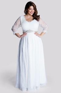 V-neck Illusion Long Sleeve Wedding Dress With Jeweled Waist
