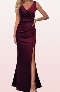 V-neck Sleeveless Sheath Satin Prom Dress With Ruching and Split Front