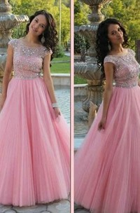 A-line Short Sleeves Scoop Beading Tulle Floor-Length Dresses