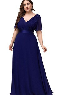 Casual V-neck Chiffon A Line Half Sleeve Formal Dress With Criss Cross and Ruching