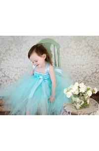 Pleated Satin Sash Blue Aqua Tulle Flower Girl Dress