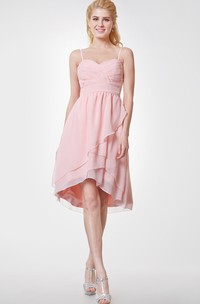 Sweetheart High Low Chiffon Bridesmaid Dress with Spaghetti Straps