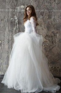 Bateau Lace Tulle Long Sleeve Ball Gown Wedding Dress With Keyhole