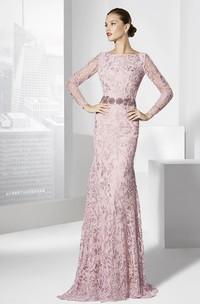 Sheath Embroidered Jewel-Neck Floor-Length Long-Sleeve Prom Dress