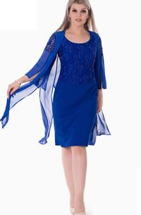 Scoop-Neck Jewel Short-Midi Column Zipper Chiffon Dress