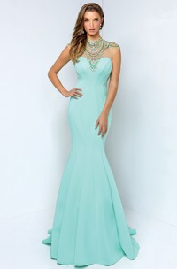 Trumpet Jeweled Full-Length High-Neck Jersey Sleeveless Keyhole Dress