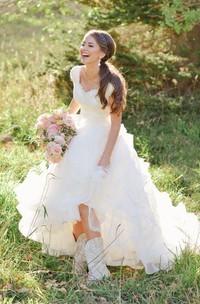 Queen Anne Organza Lace Cap Short Sleeve Wedding Gown