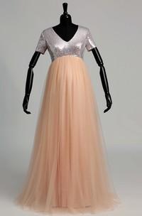 V-neck Short Sleeve Empire Maternity Beading Pleats Dress