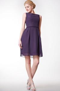 A-Line Chiffon Bateau-Neck Simple Short Dress