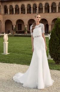 Short-Sleeve Lace Floor-Length Long Button-Back Dress
