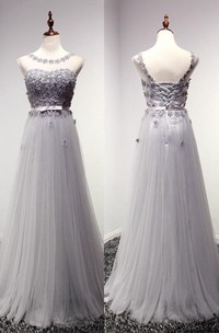 Floor-length Appliques Lace-up Back Tulle Dress