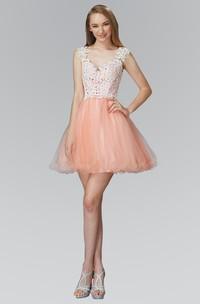 A-Line Lace Appliqued Short Mini Cap-Sleeve V-Neck Tulle Dress