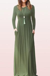 Elegant Bateau Jersey A Line Long Sleeve Guest Dress With Pockets